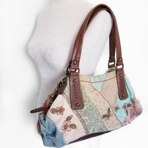 Fossil shoulder bag boho patchwork embroidery